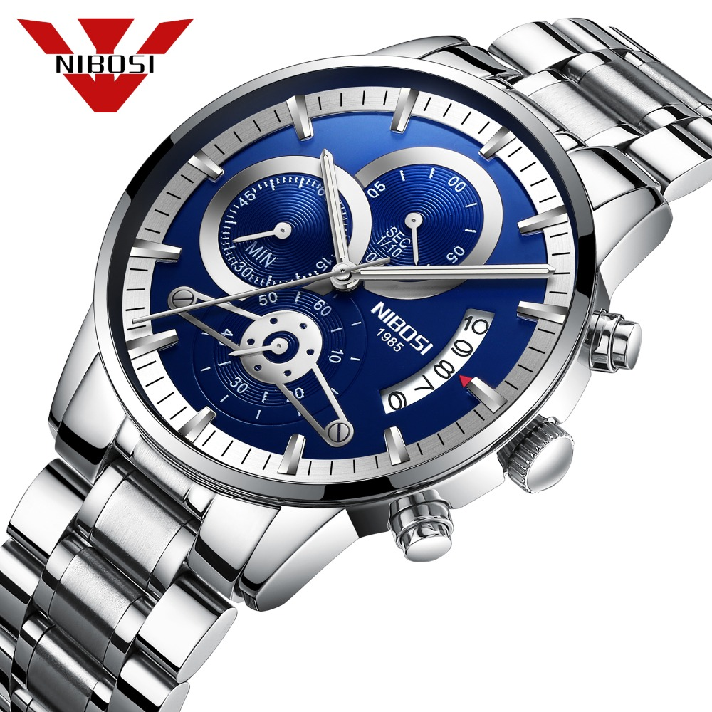 NIBOSI 2018 New Top Luxury Brand Mens Watches Sports Watches Men Quartz Clock Sports Military Wrist Watch Relogio Masculino top brand 2017 new mens sports clock watch retro design leather band analog alloy quartz wrist watches relogio masculino
