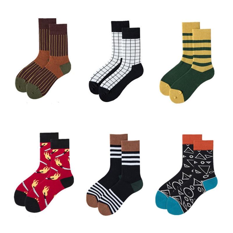 Unisex Socks 2019 Autumn New Fashion Socks Cotton Color Cozy Fashion Striped  Elastic Men Happy Socks Women High Quality