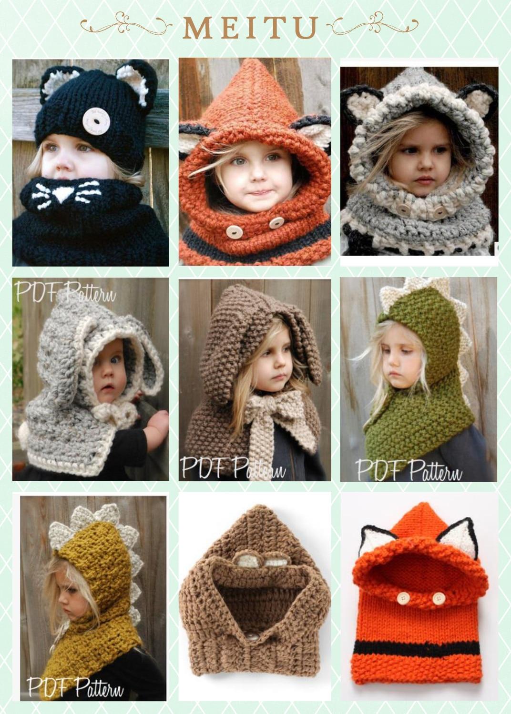 Apparel Accessories Winter Beanie Baby Sweater Fox Ktfgs Girls Boys Wool Warm Scarf Hood Holds Hats Grey