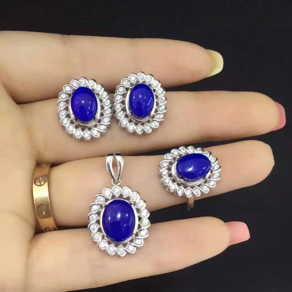 Здесь можно купить  Natural lapis lazuli gem jewelry sets natural gemstone ring Pendant Earrings 925 silver personality Elegant Luxury Flowers twist  Ювелирные изделия и часы