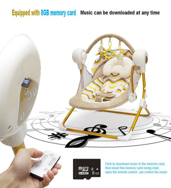 Марка колыбель электрический детские качели музыка качалка автоматическая колыбель детская спальная корзина золотой раме 8 ГБ bluetooth USB