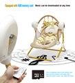 Marca cuna columpio eléctrico música mecedora cuna automática bebé durmiendo cesta marco de oro 8 gb bluetooth USB
