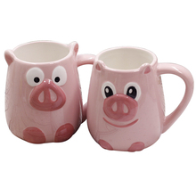 450ml Cute Pink Pig Ceramic Coffee Mug Hot Sale 3D Swine Hand Painted Water Cup And Birthday Gift Free Shipping