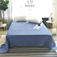 Simple Blue Circle Pattern 100% Cotton Bed Sheet Full Queen King Size Plain Flat Sheet Soft Mattress Sheet Flat Sheet Bed Set