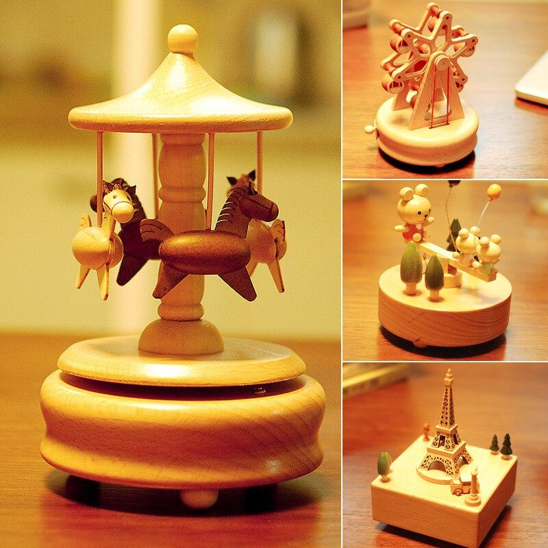 Saint valentin créativité luxe vif et belle Rotation automatique carrousel boîte à musique boîte à musique cadeau petite amie