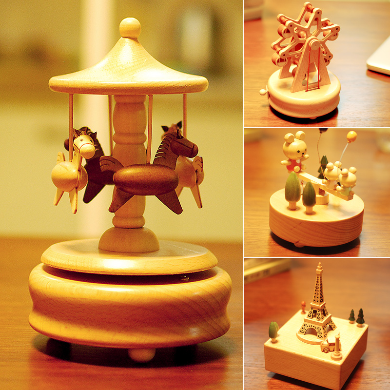 Valentines Day Creativity Luxury Vivid and Lovely Automatic Rotation Carousel Music Box Music Box Gift Girlfriend