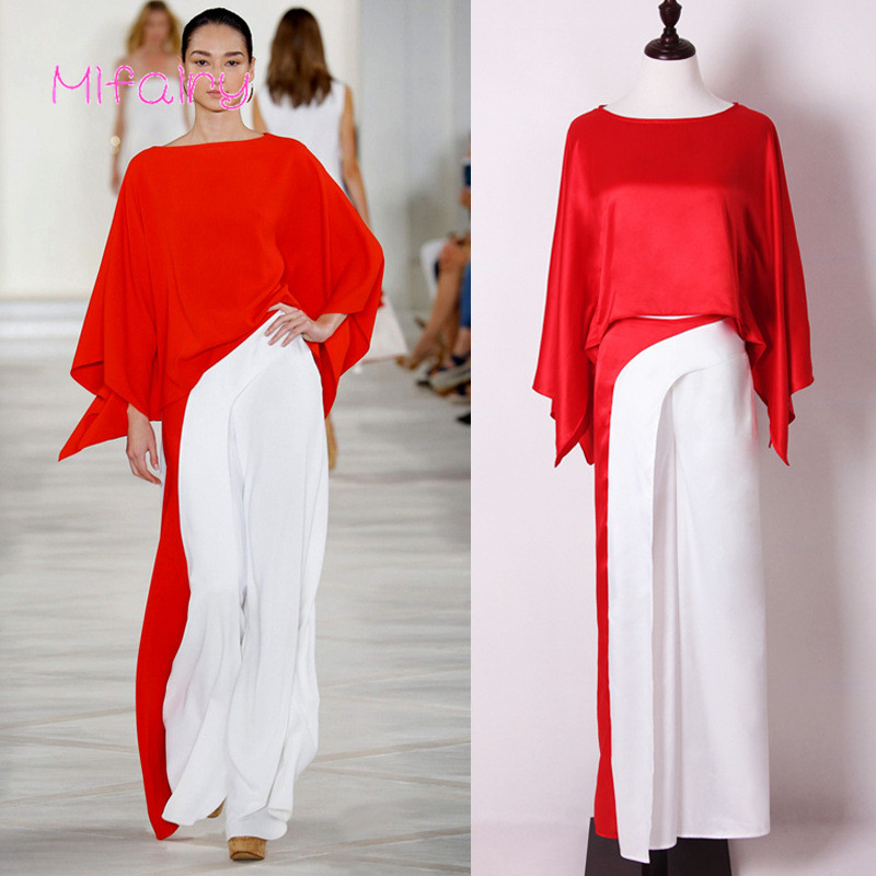 Mifairy 2017 Red White Patchwork Batwing Sleeves Silk Women's Tops And Loose Pants Milan Runway Women's 2 Pieces Sets 70209