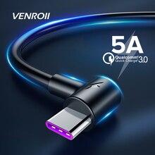 Venroii 5A USB Tipo C Cavo di 1m 2m 3m Tipo di Ricarica Veloce C Kable per Huawei p30 P20 Compagno di 20 Pro Telefono Sovralimentare QC3.0 USBC Cabo