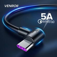 Venroii-Cabo de carregamento rápido 5A USB de tipo C para Huawei, P30 P20 Mate 20 Pro, com 1m 2m 3m, cabo de super carga de telefone QC3.0 USBC