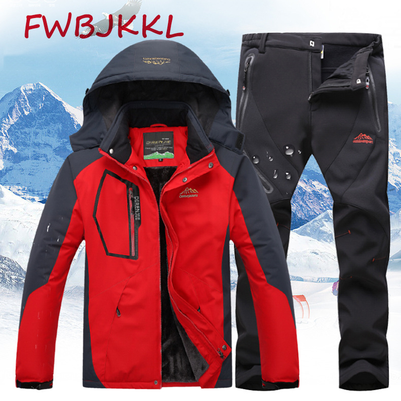 Outdoor Mountaineering Jacket Fishing Clothing Men Winter Plus Velvet Thickening Zero 20 Degrees Warm Pants Suit