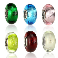 High Quality Round Lampwork European Silver Plated Murano Glass Beads Charms for DIY Pandora Style Bracelet Jewelry Making