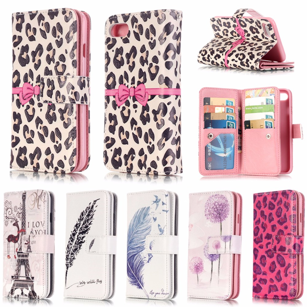 PU leather Cover For Apple <font><b>iPhone</b></font> 5 5S SE <font><b>5C</b></font> 6 6S 7 Plus <font><b>Case</b></font> Wallet Pocket Style Flip with 9 Card Slot Purse <font><b>Phone</b></font> Bag B06