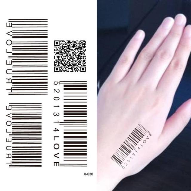 d1b60e394 Waterproof Temporary Tattoo Sticker Barcode Tattoo Water Transfer Fake  Tattoo Flash Tattoo For Unisex