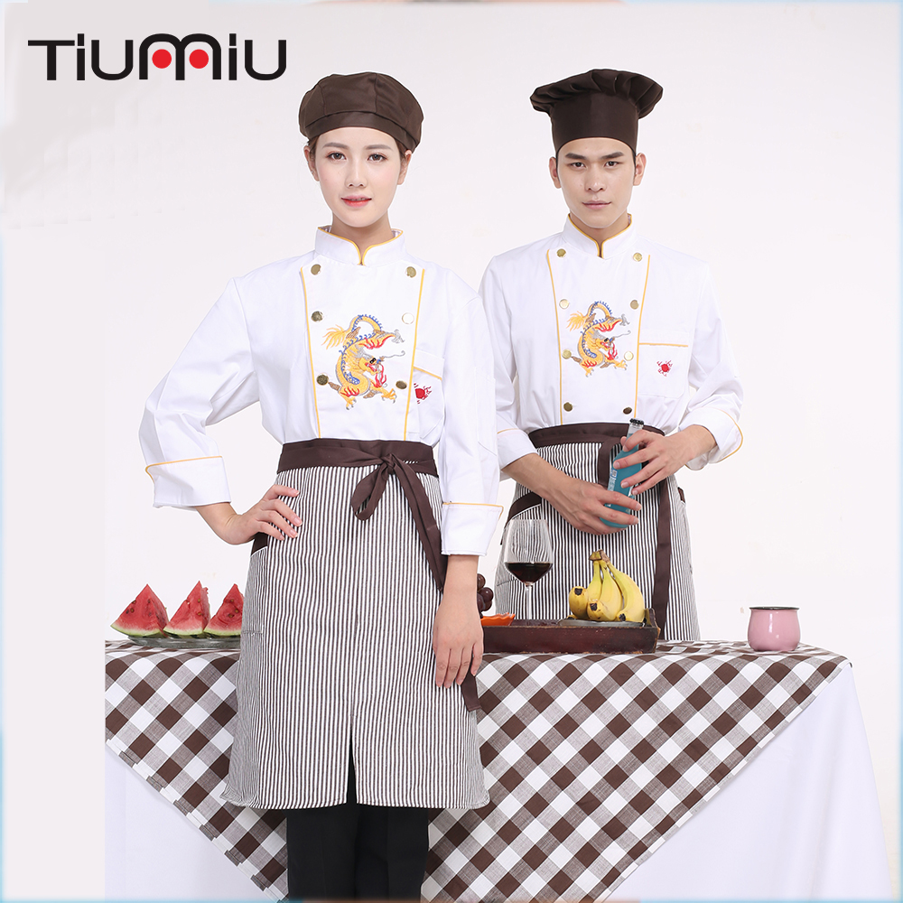 Wholesale Men Women Restaurant Chef Work Wear Embroidery Dragon Double-breasted Long Sleeved Kitchen Jackets Apron Cook Uniforms