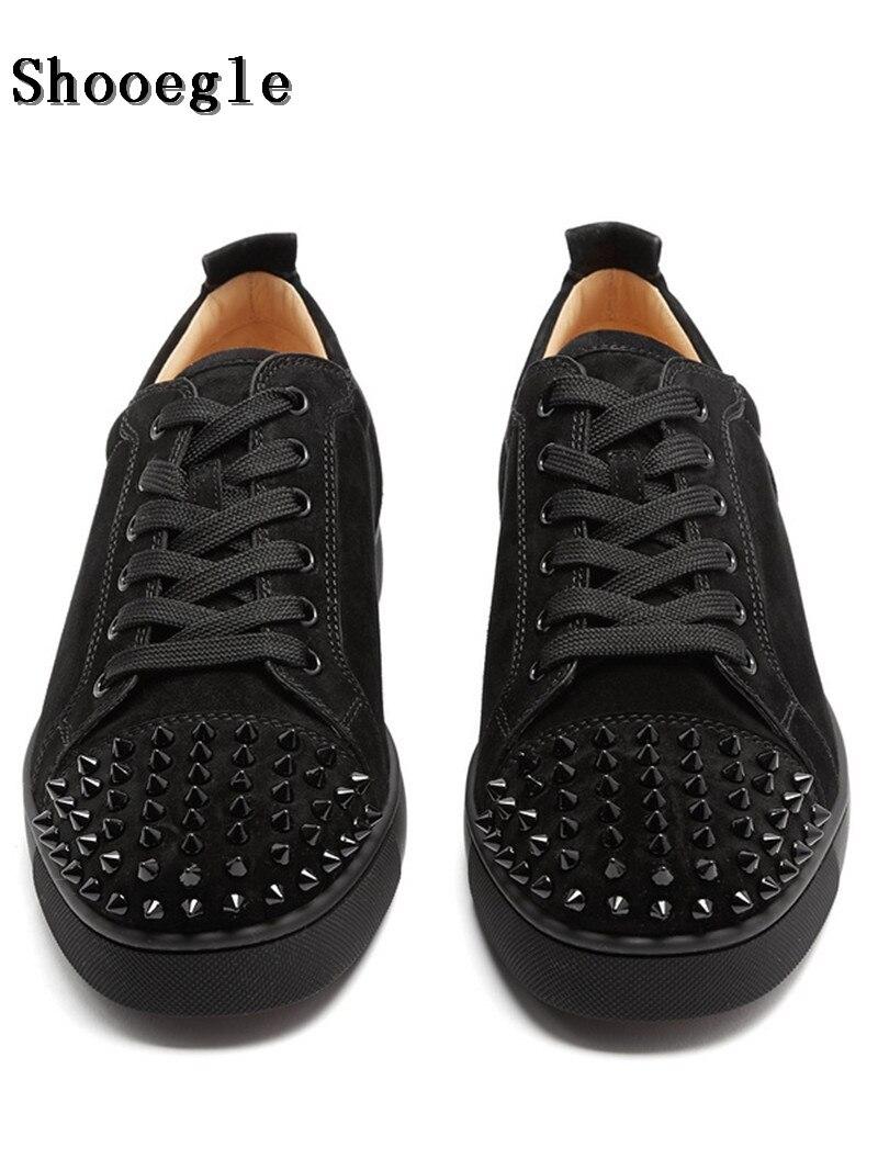 Shooegle moda luxo spikes sapatos masculinos rebites