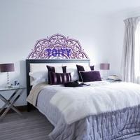 56 137CM Half Mandala Art Vinyl Bedroom Headboard Wall Decal Yoga Studio Glass Wall Floral Lotus
