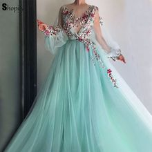 Long Elegant Evening Dresses 2018 Sheer Nude Long Sleeve Scalloped High  Quality Embroidery Mint Green Arabic d07d452e070f