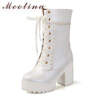 Meotina Women Boots High Heels Platform Mid Calf Female Autumn Boots Lace Up Chunky Heel Boots