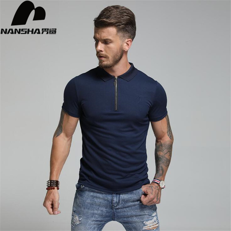 NANSHA Brand Clothing New Men   Polo   Shirts Men Business Casual Solid Male   Polo   Shirt Short Sleeve Breathable   Polo   Shirts