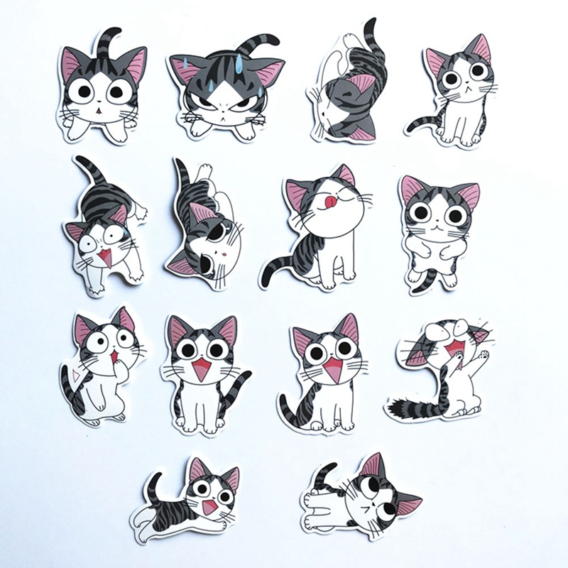 14Pcs/Lot Chi's Sweet Home Stickers Anime For Decal Snowboard Laptop Luggage Car Fridge Car- Styling Sticker Pegatina car styling for english french bulldog pet dog paws love hearts car window laptop decal sticker