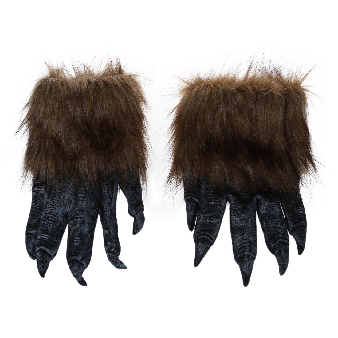 1 Pair Wolf Gloves Halloween Mask animal mask set werewolf Masquerade (Size: L, Color: Black)