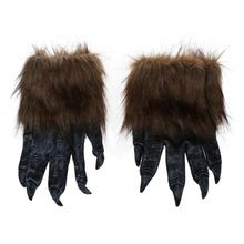 1 Pair Wolf Gloves Halloween Mask animal mask set werewolf Masquerade Wolf (Size: L, Color: Black) latex wolf mask toy for halloween black