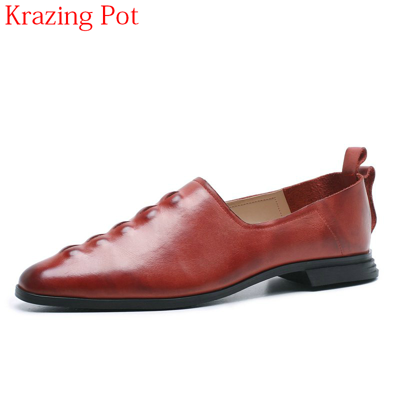 2018 New Arrival Genuine Leather Thick Heel Solid Retro Spring Shoes Slip on Concise Style Runway Pointed Toe Women Pumps L67 nayiduyun women genuine leather wedge high heel pumps platform creepers round toe slip on casual shoes boots wedge sneakers
