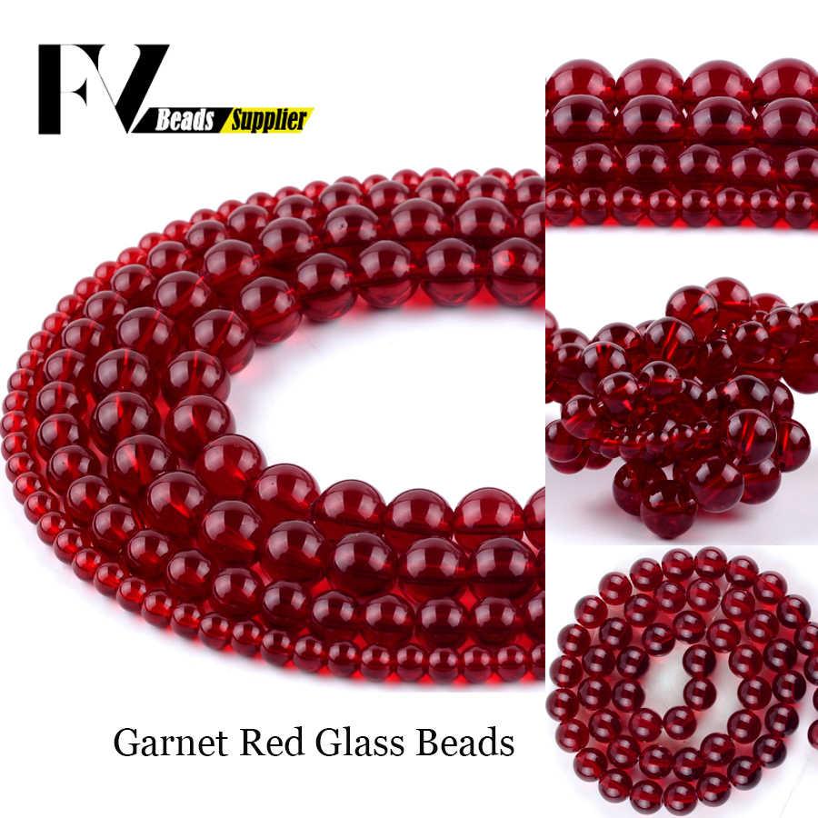 """חלק גרנט אדום זכוכית העגול עבור תכשיטי ביצוע 4mm-12mm כדור חרוזים Diy נשים צמידים שרשרת אביזרי 15"""""""