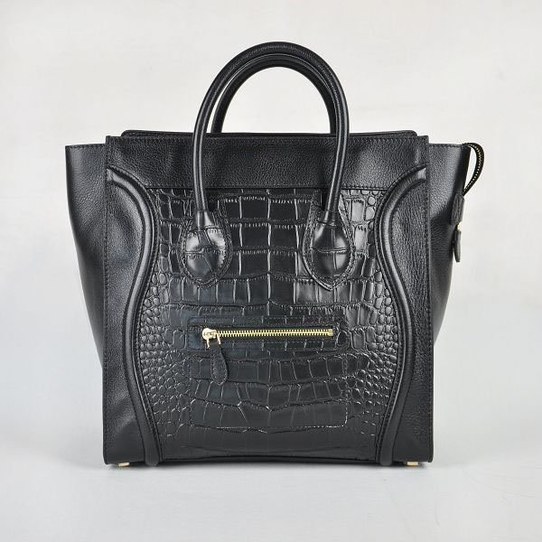New Arrival Auth Black Croc Leighton Meester Smiley Luggage Bag Free Shipping