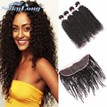 Grade 7A Brazilian Kinky Curly Virgin Hair With Lace Closure 100% Virgin Human Hair Ear To Ear Lace Frontal Closure With Bundles