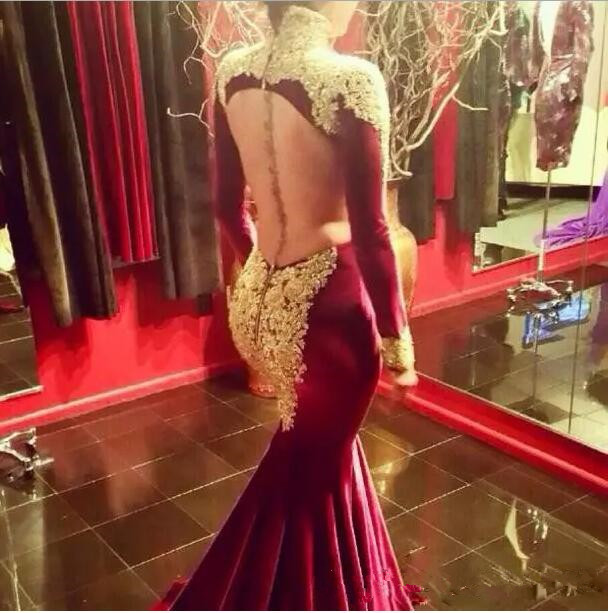 Mermaid Burgundy Prom Dresses 2017 new sexy Long Sleeve High Neck Gold Sequins Beaded Long Formal Pageant evening party Gowns