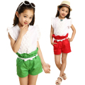 2014 Girl's Clothing Set / Short Sleeve T-shirt + Shorts + Bow Belt for Summer / Free Shipping