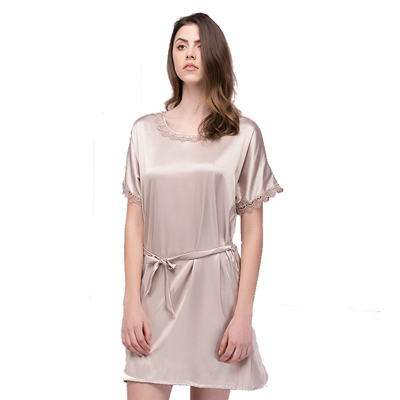 Silk Dressing Gowns Ladies: Lace Women Nightgowns 2017 Designer Summer New Camel Faux