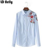LD Helly Fashion Latest Women S Floral Embroidery Striped Blouse Tops Lapel Long Sleeve Shirts Ladies