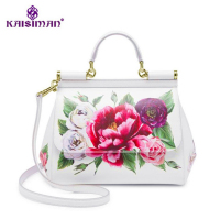 Famous Brand Premium Luxury Lady Bag Flowers Print Platinum Tote Female White Handbags Genuine Cow Leather Handbag/Shoulder Bags
