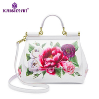 Famous Brand Premium Luxury Lady Bag Flowers Print Platinum Tote Female White Handbags Genuine Cow Leather Handbag/Shoulder Bags