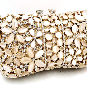 Image 2 - ไนจีเรียเจ้าสาวงานแต่งงานชุดราตรีกระเป๋าเพชรดอกไม้หรูหราคริสตัลคริสตัล Clutches Elegant โอปอลหินกระเป๋า