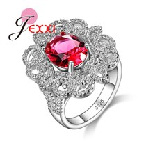 JEXXI Hot Fashion Elegant Red Oval CZ   Rings For Women 2016 Brand Luxury Wedding Engagement Ring Female Bijoux Femme