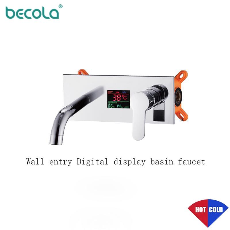 BECOLA Chrome Basin Faucet Long Nose Spout single handle Temperature Display Wall Chrome Finish para bathroom mixer tap mixer : 91lifestyle