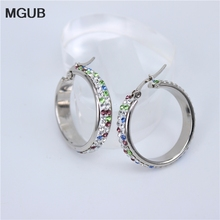 MGUB 25mm All Crystal Female Earrings 316L Stainless Steel Pop Jewelry Silver 2color Inner Ring Smooth Suitable LH322