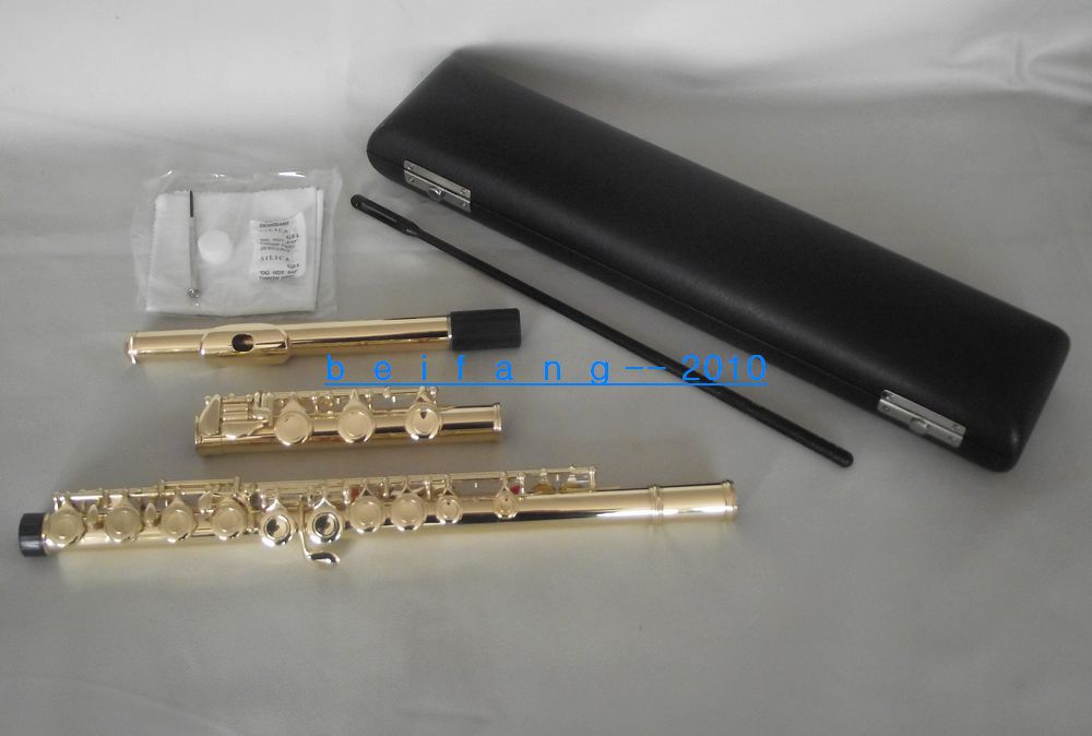 Excellence 17 closed hole flute C key Gold lacquer Body excellence color 16 closed hole purple flute e case c key