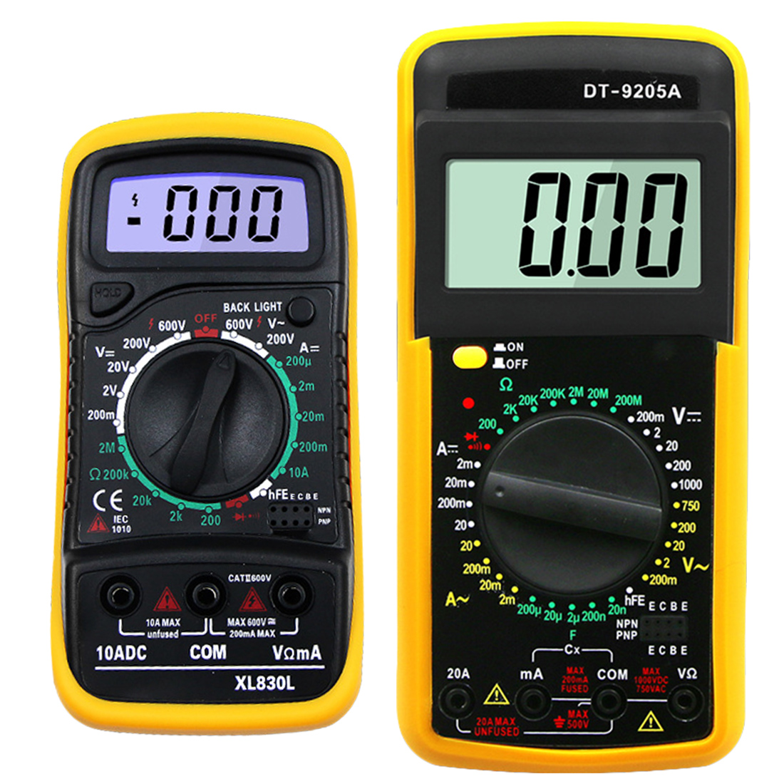 Handheld LCD Multimer Digital Multimeter Backlight AC/DC Ammeter Voltmeter Ohm Tester Meter XL830L/DT-9205A мультиметр flyfireshop 2 lcd avometer xl830l