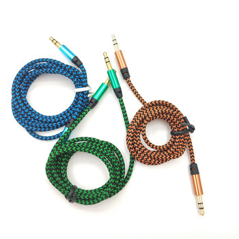 1m Nylon Aux Cable 3.5mm to 3.5 mm Male to Male Jack Auto Car Audio Cable Gold Plug Kabel line Cord For Iphone 7 Xiaomi speaker image