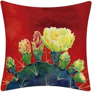 Image 2 - Tropical Sukkulenten Pflanzen Kaktus Blume Druck Kissen Kissen Abdeckung für Couch Auto Sofa Hinterhof Küche Home Room Decor