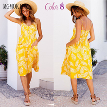 774a9aa938ba Boho Floral Print Summer Dress Women V Neck Pockets Sleeveless Midi Dresses  Female Sunflower Pleated Backless