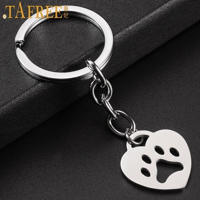 TAFREE fashion heart shaped dog bear paw print pendant keychain stainless steel animal key chain ring holder women jewelry SKU24