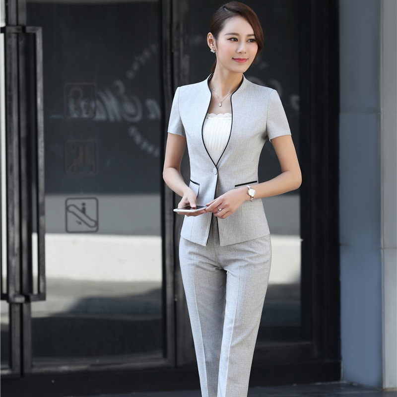 Elegant Grey Striped Formal Professional Business Women Suits With Jackets And Pants Female Trousers Sets Summer Blazers Outfits jeans con blazer mujer