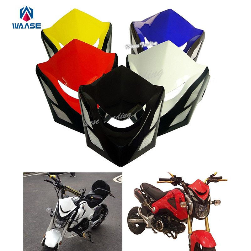 Motorcycle Front Upper Cowl Headlight Headlamp Head Lamp Cover Wind Shield Screen For HONDA Grom MSX 125 MSX125 2013 2014 2015 motorcycle front rider seat leather cover for ktm 125 200 390 duke