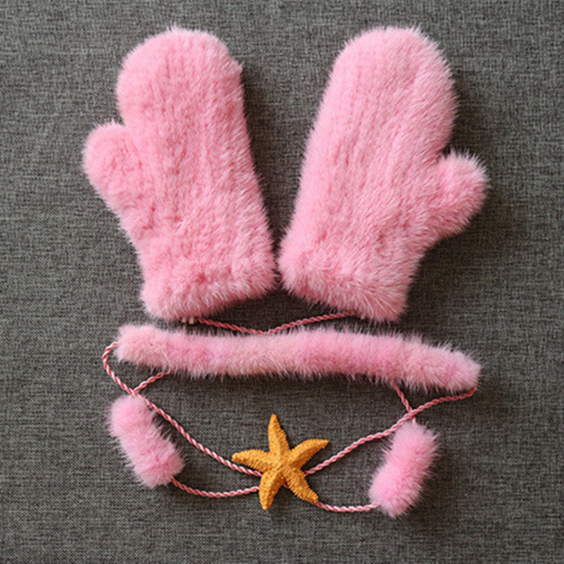 Vente chaude Hiver Gants Femmes 4 Couleurs Tricoté Fourrure De Vison Gant avec Fourrure De Vison Mode Solide Vison Chaud cadeau Femme pour femme