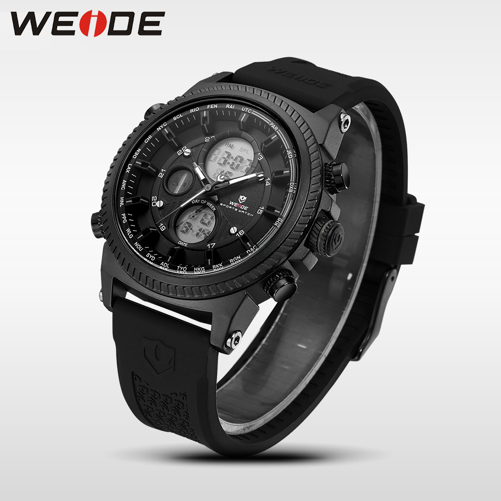 WEIDE Genuine luxury Brand Military Watch sport digital Automatic watches silicon watch quartz Analog Water Resistant Clock weide wh 3401 double movt analog digital military quartz watch water resistant for sports